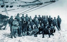Ernest Shackleton and crew of his ship the Endurance photographed July 1915 Public Domain